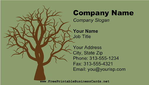 Bare Tree Brown business card