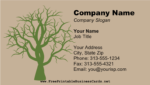 Bare Tree Green business card