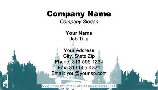 Cathedral Blue business card