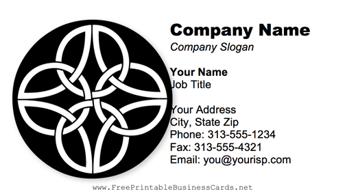 Celtic Pattern Black And White business card