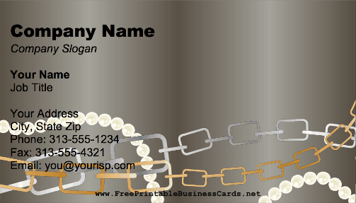 Chains and Pearls business card