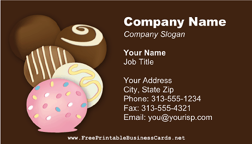 Chocolate 4 business card