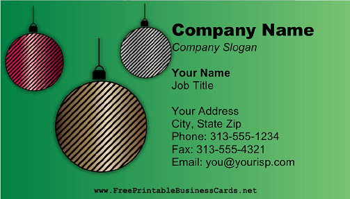 Christmas Ornaments Green business card