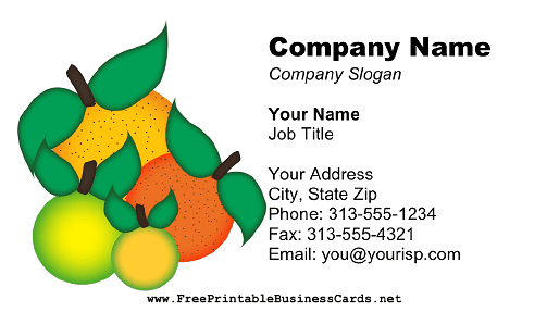 Citrus Fruits business card