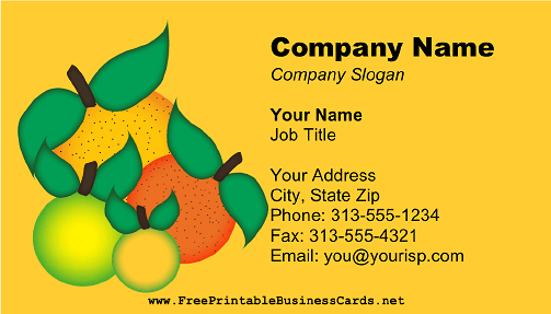 Citrus Fruits Yellow business card