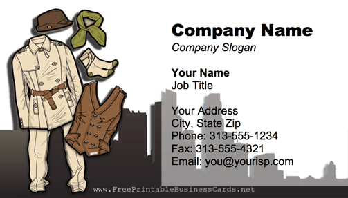 City Clothes business card