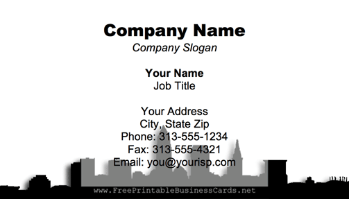 Cleveland Skyline business card
