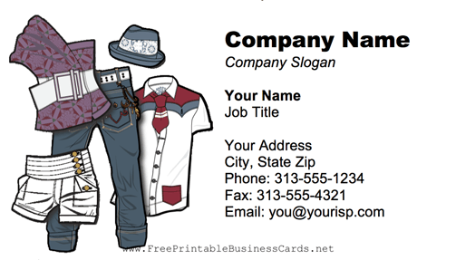 Clothing business card