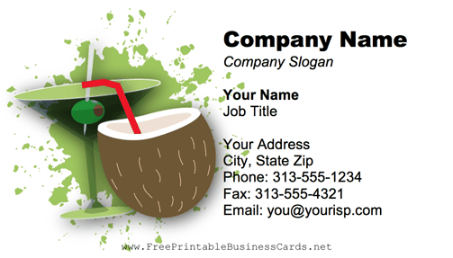 Cocktails business card