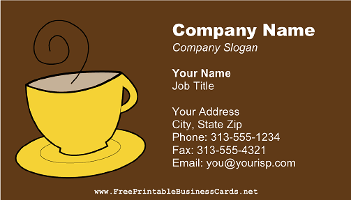 Yellow Coffee Mug business card