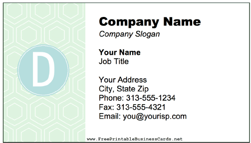 Colorful D Monogram business card