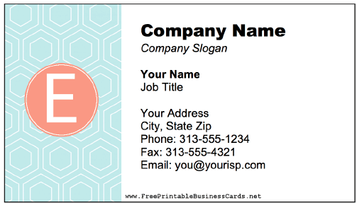 Colorful E Monogram business card