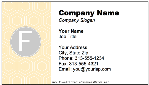 Colorful F Monogram business card