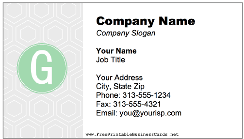 Colorful G Monogram Business Card business card