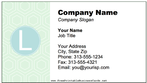 Colorful L Monogram Business Card business card