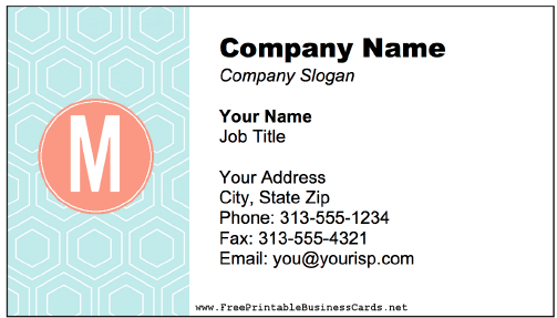 Colorful M Monogram business card