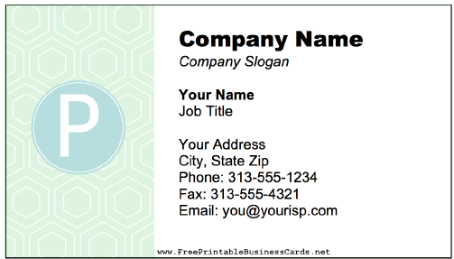 Colorful P Monogram Business Card business card