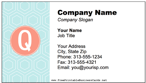 Colorful Q Monogram business card