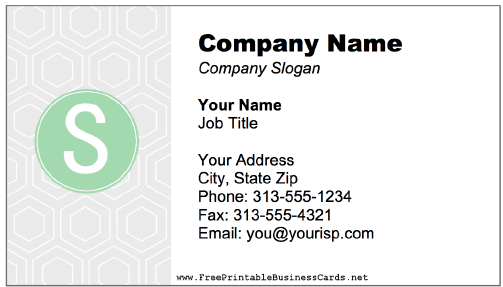 Colorful S Monogram business card