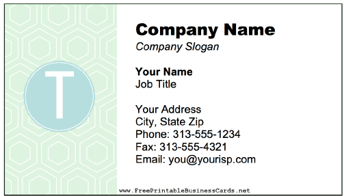 Colorful T Monogram business card