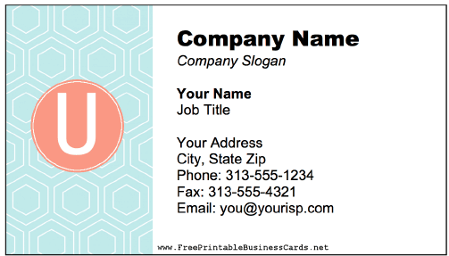 Colorful U Monogram business card