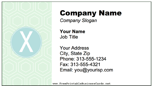 Colorful X Monogram business card