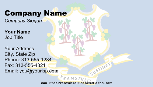 Flag of Connecticut business card