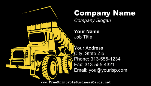 Dump Truck Dark business card