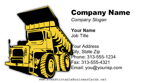 Dump Truck Light business card