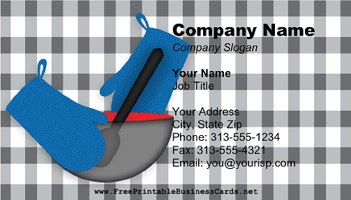Personal Chef Blue Plaid business card