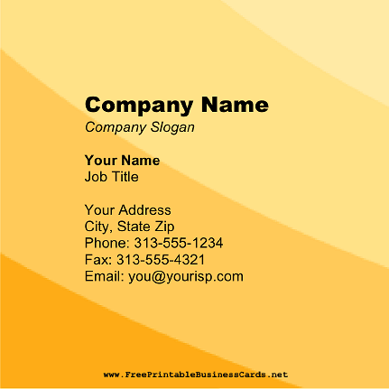 Yellow Stripes Square business card