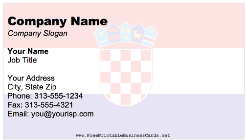 Croatia business card