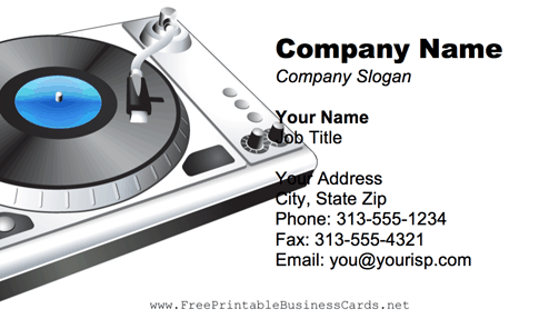 DJ Turntable business card