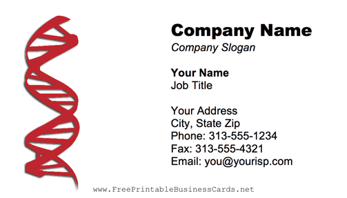 DNA Strand Red business card
