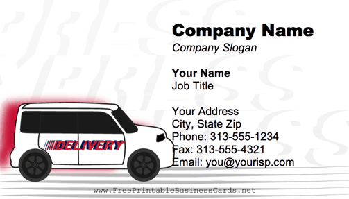 Delivery Van business card