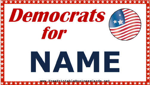 Democrats Support Sign business card