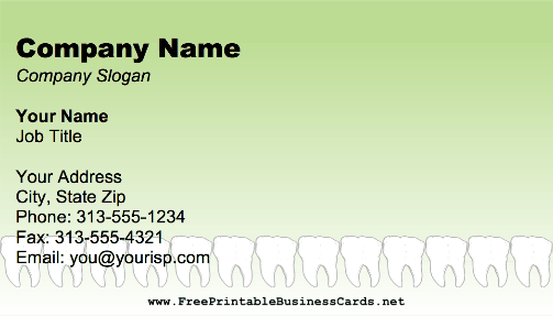 Dentist Teeth business card