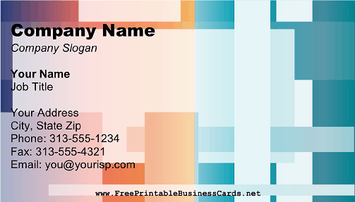 Blue Orange Block Design business card