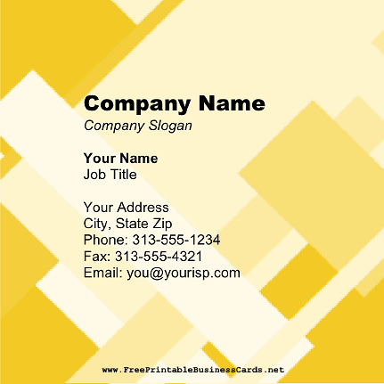 Yellow Blocks Square business card