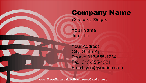 DJ Music Notes Red business card