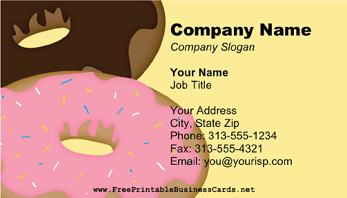 Large Donuts Yellow business card