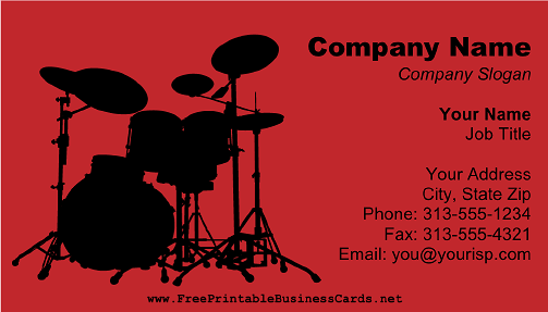 Drum Set Red business card