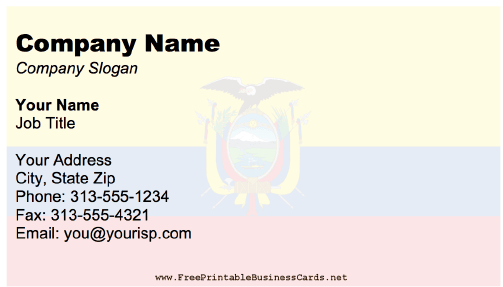 Ecuador business card
