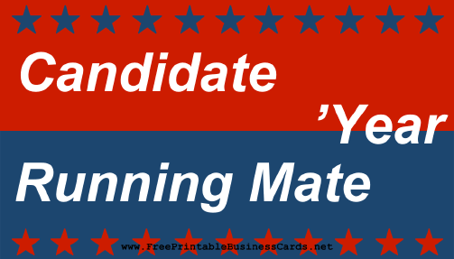 Election Sign With Running Mate business card