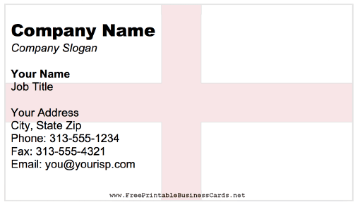 England Business Card business card