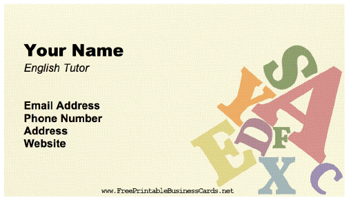 English Tutor Business Card business card