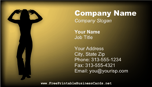 Dancer Silhouette business card
