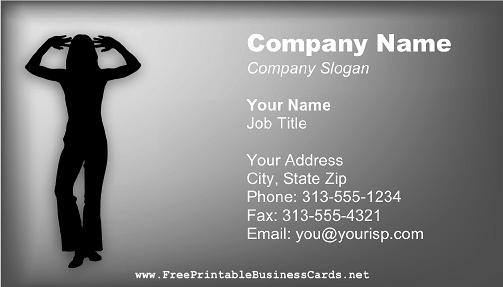 Dancer Silhouette Gray business card