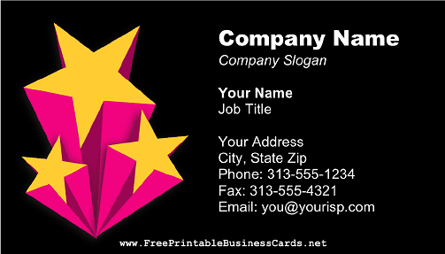 Shooting Stars Black business card