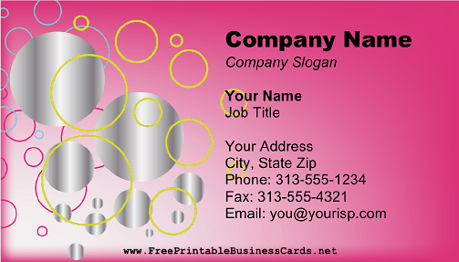 Pink And Silver Circles business card